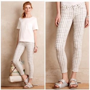 Paige Verdugo Ankle Skinny Jeans Grey Gingham